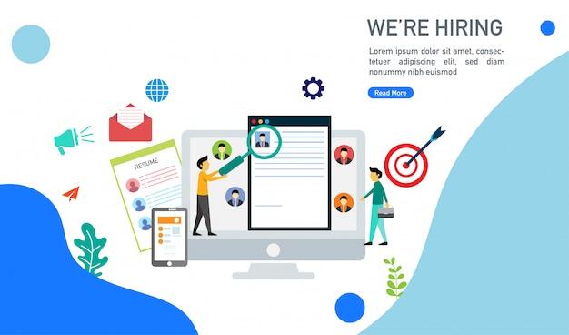 Estamos contratando e conceito de recrutamento on-line com pessoas minúsculas caráter ilustração vetorial.