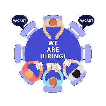 Estamos contratando ilustração. rh, conceito de recrutamento