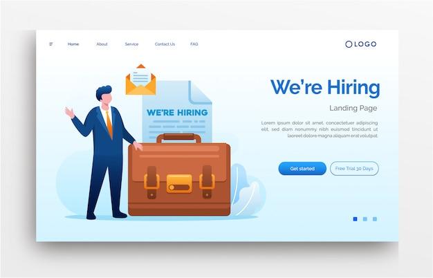 Estamos contratando landing page website ilustração modelo plano eps