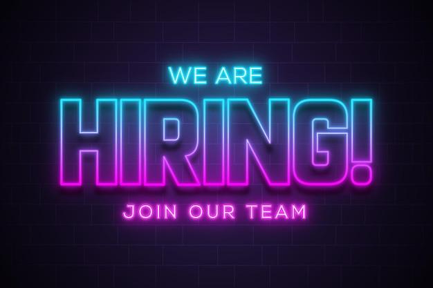 Estamos contratando letras de anúncio para se juntar à nossa equipe em efeito de brilho neon