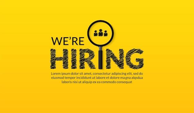 Estamos contratando modelo fundo de vagas de emprego com lupa conceito de recrutamento de negócios