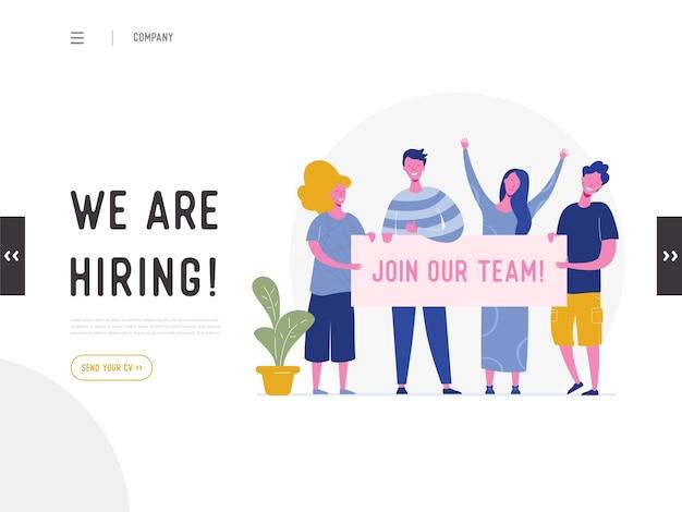 Estamos contratando o conceito de ilustração, personagens de pessoas de recrutamento de trabalho segurando banner, para página de destino, modelo de mídia social, interface do usuário, web design, aplicativo móvel, pôster, folheto