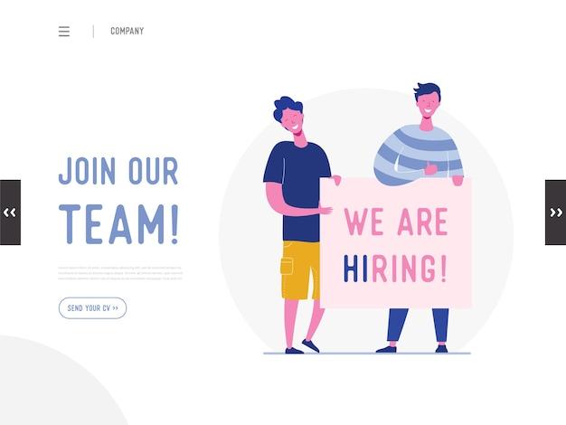 Estamos contratando o conceito de ilustração, personagens de pessoas de recrutamento de trabalho segurando cartazes