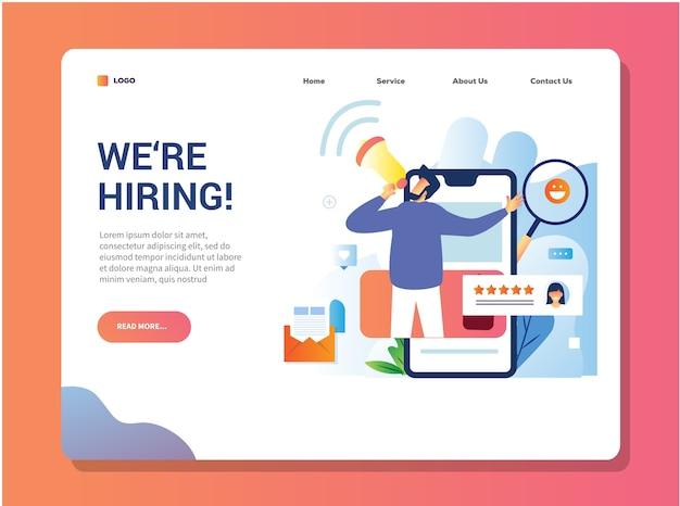 Estamos contratando o design da página de destino para o recrutamento aberto de um funcionário ou equipe