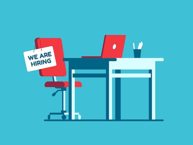 Estamos contratando sinal de emprego no local de trabalho vago.