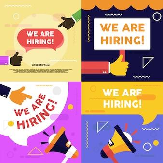 Estamos contratando um banner de vagas. ilustração de vaga de emprego. processo de recrutamento