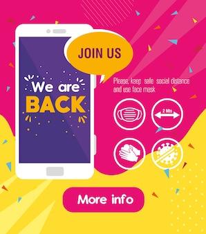 Estamos de volta mensagem em smartphone, com medidas de prevenção contra covid19.