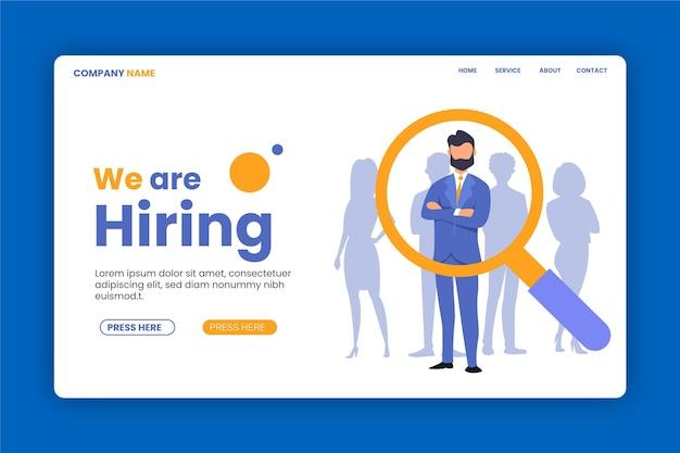 Estamos pesquisando a página de destino do recrutamento