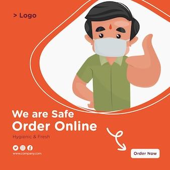 Estamos seguros de encomendar design de banner online com confeiteiro usando máscara e mostrando os polegares para cima