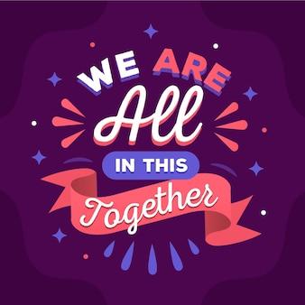 Estamos todos juntos nessa escrita à mão