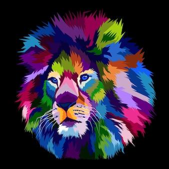Estampa animal colorida do retrato da pop art com cabeça de leão