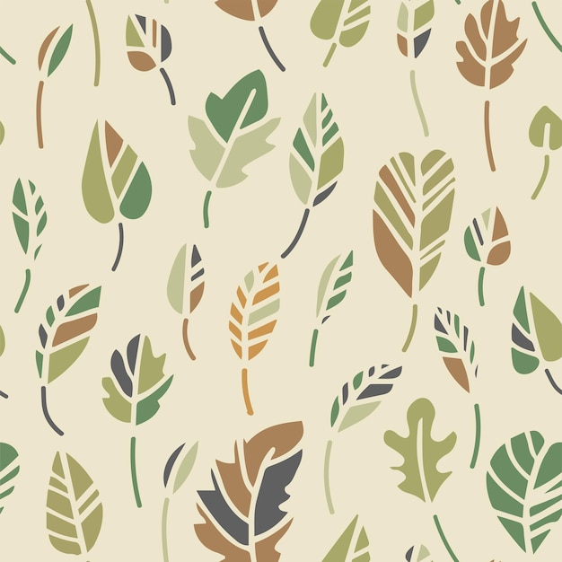Estampa de botânica deixa folhagem exuberante padrão uniforme