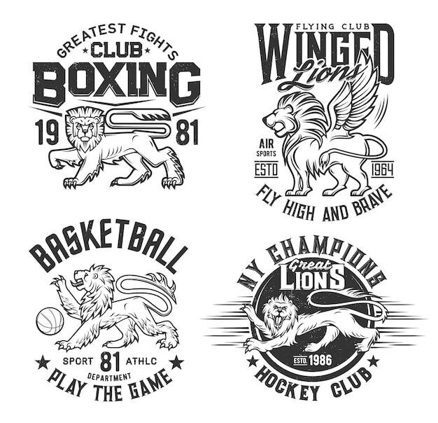 Estampa de camiseta com animal de leão, basquete, clube de hóquei
