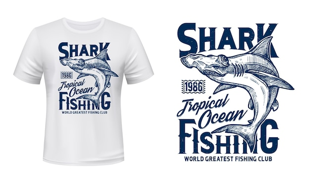Estampa de camiseta com cabeça de martelo de tubarão