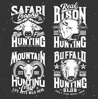 Estampa de camiseta com cabra montesa, búfalo e bisão