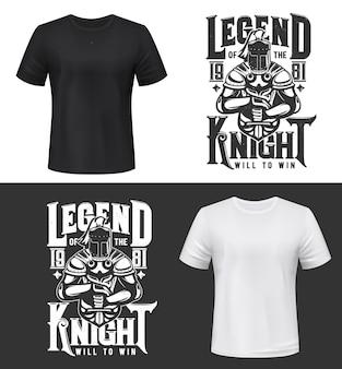 Estampa de camiseta com cavaleiro e espada, mascote guerreiro medieval com capacete, capa e armadura. design de vestuário monocromático com tipografia legend knight, impressão de camiseta isolada, emblema ou etiqueta