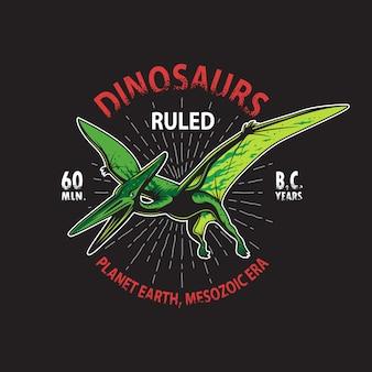 Estampa de camiseta com esqueleto de dinossauro pterodáctilo. estilo vintage