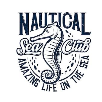 Estampa de camiseta com mascote de cavalo marinho para clube marinho náutico