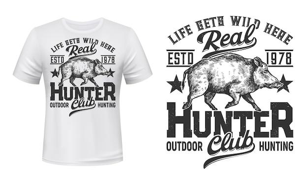 Estampa de camiseta com mascote de javali para clube de caça