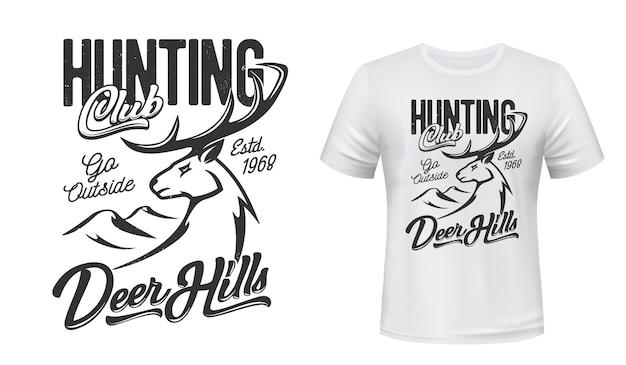 Estampa de camiseta com mascote de veado para clube de caça