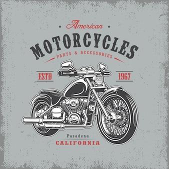 Estampa de camiseta com motocicleta em fundo claro e textura grunge