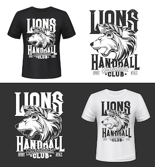 Estampa de camiseta de leão, mascote rei dos animais do clube de handebol