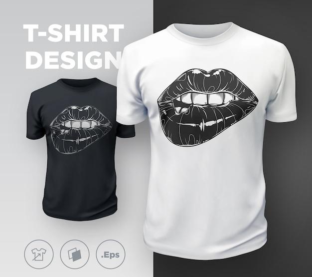 Estampa de camiseta feminina com lábios