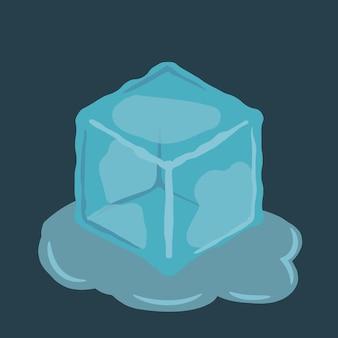 Estampa de cubo de gelo em água. ilustração vetorial.