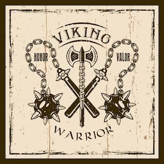 Estampa de emblema, etiqueta, distintivo ou camiseta de vetor viking marrom com duas armas morgenstern e machado. texturas removíveis do grunge em camadas separadas