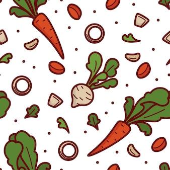 Estampa de folhas e vegetais de cenoura e cebola