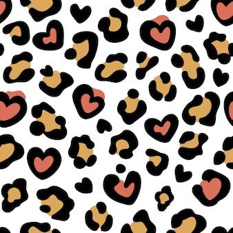 Estampa de leopardo com corações padrão sem emenda com manchas de leopardo estampa animal abstrata