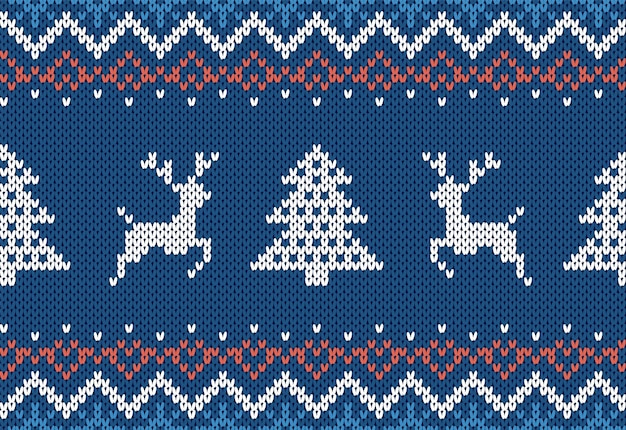 Estampa de malha com árvore de natal e veados. padrão sem emenda de natal azul. borda de malha festiva