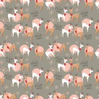 Estampa de natal com desenhos animados de amantes de renas