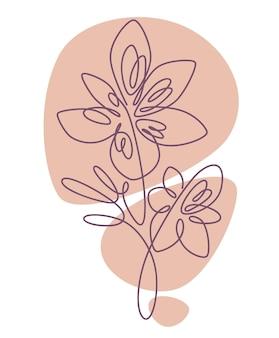 Estampa floral com caule e folhas tenras pétalas