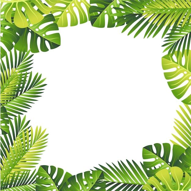 Estampa floral. folhas verdes tropicais. selva exótica e folha de palmeira. elemento floral em fundo branco