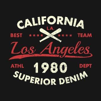Estampa grunge califórnia los angeles para roupas com taco de beisebol emblema da tipografia para camiseta