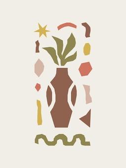Estampa inspirada de matisse com formas e objetos orgânicos de recorte coloridos