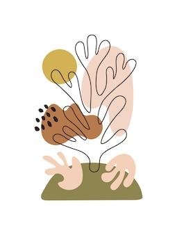 Estampa inspirada de matisse com formas orgânicas de corte coloridas e objetos em fundo branco
