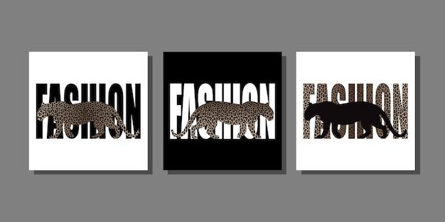 Estampas de animais da moda com silhueta de leopardo e padrão de leopardo