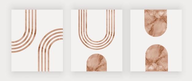 Estampas de arte boho moderna com arco-íris marrons