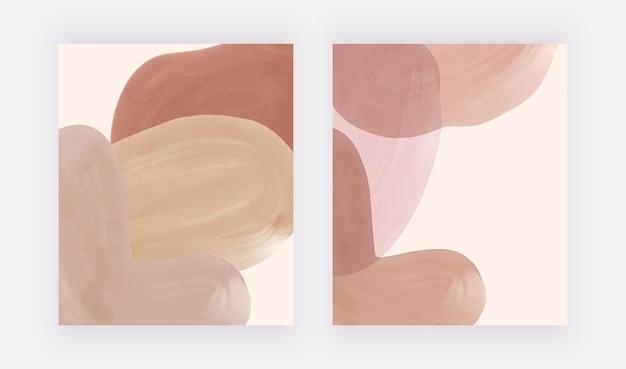 Estampas de arte em aquarela de boho com formas de nude e marrom