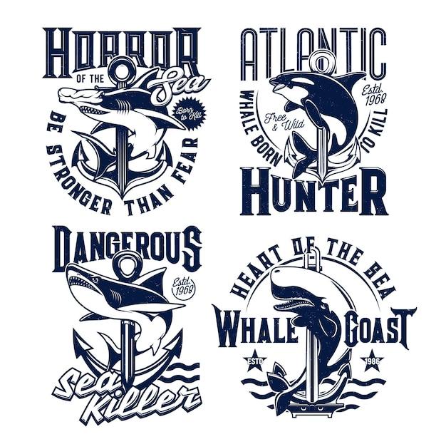 Estampas de camisetas com baleia assassina e tubarão