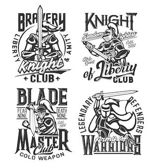 Estampas de camisetas com cavaleiros guerreiros com espada