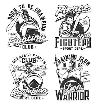 Estampas de camisetas com guerreiros gladiadores com espada, lança e escudo. mascotes de vetor para design de vestuário do clube de lutador. cavaleiros romanos ou gregos em capacete com plumagem. estampas de camisetas com conjunto de tipografia