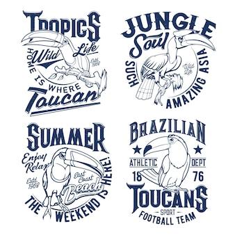 Estampas de camisetas com mascotes tucanos para time de futebol e design de roupas de verão