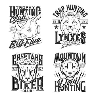 Estampas de camisetas com puma, chita e rinoceronte