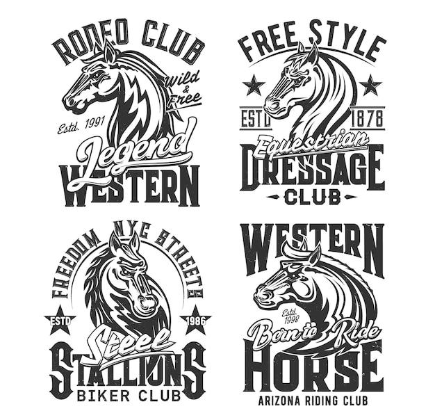 Estampas de camisetas de cavalos, corridas equestres, clube de motoqueiros