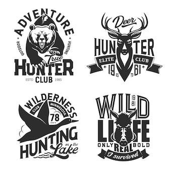 Estampas de camisetas esportivas de caça,