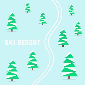 Estância de esqui com esqui alpino. conceito de repouso hibernal, inverno, brumal, alpino, relaxamento invernal, terreno, deserto, área recreativa de saúde. ilustração em vetor design moderno tendência estilo simples