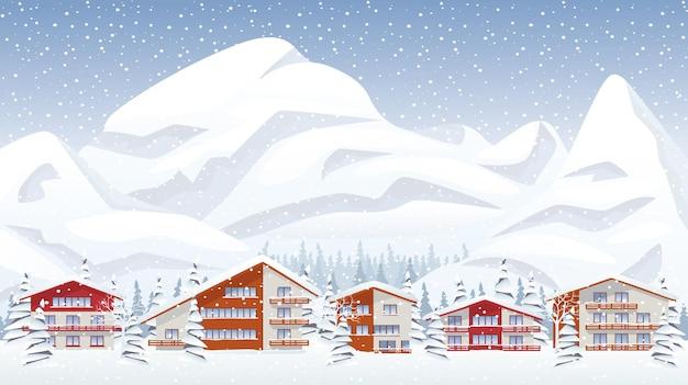 Estância de esqui de montanha no inverno a nevar. ilustração vetorial